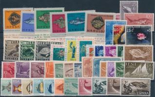 1952-1974 Fishes, reptiles 13 diff sets, 1952-1974 Halak, hüllők motívum 13 db klf sor, közte ívszéli értékek