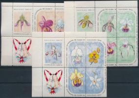 Orchids set in corner blocks of 6, Orchideák sor ívsarki 6-os tömbökben