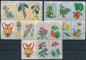 Flowers set in blocks of 4, Virágok sor 4-es tömbökben