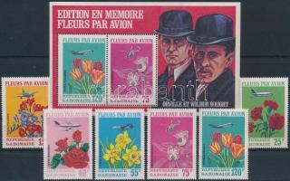 Airplanes and flowers set + block, Repülők és virágok sor + blokk