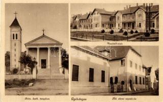 Gyékényes, vasútállomás, állami elemi népiskola, Római katolikus templom