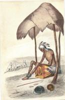 Alter  Indianer von seinem Stamm verlassen und dem Untergang preisgegeben / Old Indian folklore, Basler Missionsbuchhandlung Nr. 10., Régi indián folklór, Basler Missionsbuchhandlung Nr. 10.