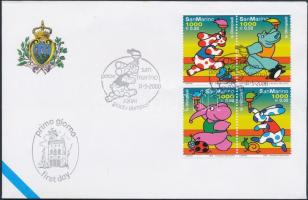 Summer Olympics, Sydney set in blocks of 4 on FDC, Nyári olimpia, Sydney sor 4-estömbben FDC-n