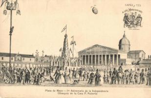 Buenos Aires, Plaza del Mayo, 10th anniversary of the Independence, Cafés y Tés advertisement