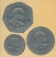 Kenya 1980. 50c + 1Sh + 1985. 5Sh plasztiktokban T:2,2- Kenya 1980. 50 Cents + 1 Shilling + 1985. 5 Shilling in plastic case C:XF,VF