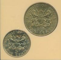Kenya 1987. 5c + 10c plasztiktokban T:2 Kenya 1987. 5 Cents + 10 Cents in plastic case C:XF