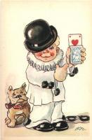 Italian art postcard, child clown, cards, Cecami n. 1039. s: M.M., Olasz művészeti képeslap, gyermekbohóc, kártyák, kutya, Cecami n. 1039. s: M.M.