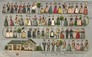 Gruss aus Schweizerland, Schweizertrachten / Swiss folklore, silver card, Suggenheim & Co. No. 10353., litho, Svájci folklór, ezüst kártya, Suggenheim & Co. 10353., litho