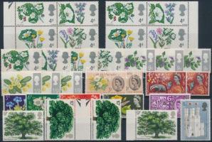 1963-1969 32 db Virág bélyeg, közte összefüggések, másodpéldányok