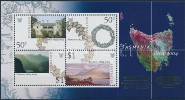 Tasmania landscapes, buildings block with gold overprint, Tazmánia tájak, épületek blokk arany felülnyomással