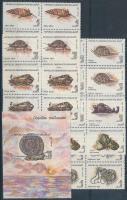 1993 Puhatestűek sor 4-es tömbökben Mi 1416-1422 + blokk