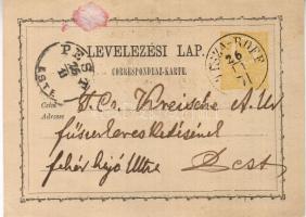 1871 2kr díjjegyes levelezőlap / PS-card TISZA-ROFF-Pest