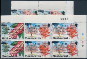 1977 Virág felülnyomott sor ívsarki négyestömbökben Mi 374-376