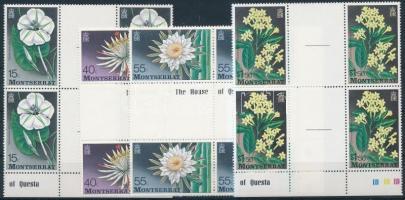 1977 Virág sor ívszéli ívközéprészes négyestömbökben Mi 366-369