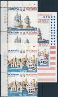 1976 200 éve független az USA; Hajók sor ívszéli négyestömbökben Mi 359-362 + blokk 11