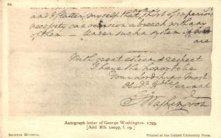 Autograph letter of George Washington from 1793, George Washington sajátkezű levele 1793-ból