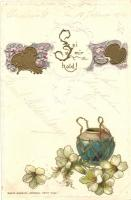 Sei mir hold! / Floral, Art Nouveau greeting card, Emb. litho, Virágos, Art Nouveau üdvözlőlap, dombornyomott, litho