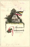 Birthday greeting card, German flags, M.S.i.B. 147. Emb. litho