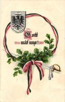 Gott mit uns! / German flag, coat of arms, sword, A.S.B. Serie 305.  Emb. litho, Német zászló, címer, kard, A.S.B. Serie 305., dombornyomott,  litho