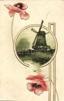 Windmill, Art Nouveau floral, Erika Nr. 3135. Emb. litho, Szélmalom, Art Nouveau, pipacs, Erika Nr. 3135. dombornyomott, litho