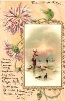 Halászok és mosónő, Ed. Arenz's Serie 1239., Virágos, Art Nouveau litho, Fisherman with washerwoman, Ed. Arenz's Serie 1239. floral, Art Nouveau litho
