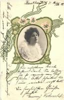 Lady, Art Nouveau greeting card, Emb. (EK)