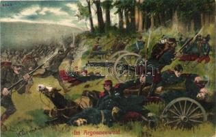 Im Argonnenwald / WWI French-German battle s: Bormann, I. világháború, német gyalogsági roham francia tüzérség ellen az argonne-i erdőben s: Bormann