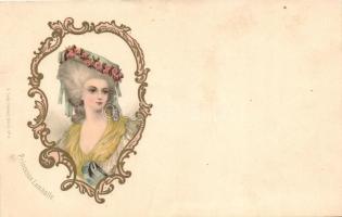 Princesse Lamballe, Art Nouveau, A. Sockl Serie I. No. 5. litho, Lamballe hercegné,szecessziós, A. Sockl Serie I. No. 5. litho