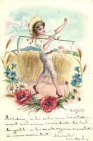 Augusztus, fiú kaszával, virágok, litho, August, Boy with scythe, floral, litho