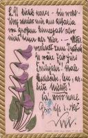Floral greeting card, Emb. Plentl 'Mary Mill' Nr. 156., Virágos üdvözlőlap, dombornyomat, Plentl 'Mary Mill' Nr. 156.