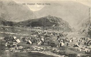 Chasseurs Alpins au Camp / French elite mountain infantry camp, Francia hegyivadász ezred tábora