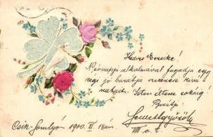 Floral greeting card, Emb. litho silk card, Virágos üdvözlőlap, dombornyomott litho selyem kárty