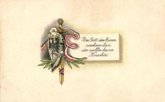Der Grott der Eisen wachsen liess, der wollte keine Knechte / German flag, coat of arms, sword, litho, Német zászló, címer, kard, litho