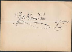 1921 Berta Kiurina (1882-1933) osztrák énekesnő aláírása lapon, 17x25cm