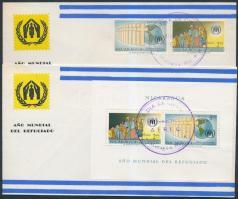 1961 Menekültügyi év sor Mi 1257-1258 + blokk 54 2 FDC