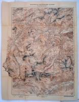 cca 1900 Az Arlberg terület környékének turistatérképe / cca 1900 Austria hiking and tourist map of the Arlberg area 70x90 cm