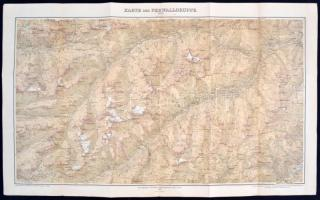 1899 Ausztria a Ferwallgroupe térképe / 1899 Austria Large hiking map of the Ferwallgroup 70x90 cm