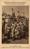 Expedition Citroen-Centre Afrique, Second Mission Haardt-Audouin Dubreuil, Nigerian folklore, Djermas warriors at a parade, Nigériai folklór, Djermas harcosok