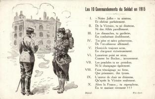 A katona tízparancsolata 1915-ben, I. világháborús francia katonai lap, Les 10 Commandements du Soldat en 1915 / The 10 Commandments of a Soldier in 1915, WWI French military