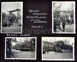 1937 Miklas osztrák elnök látogatása Magyarországon. A katonai dísszemle képei. 4 fotó, valamint az olasz király tiszteletére rendezett dísszemle képei. 5 db fotó. / 1937 Visit of the Austrian president and the Italian king. 9 photos