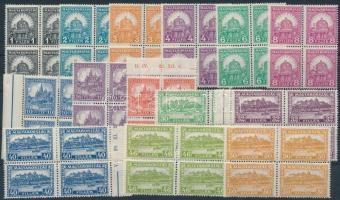 1928 Pengő-fillér (II) A sor négyestömbökben / Mi 441-454 block of 4 (60.000)(apró ráncok / small creases)