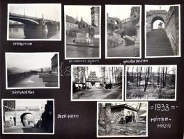 1938 Mátraháza, Hűvösvölgy, Margit híd 9 db érdekes magyar városképes fotó albumlapon