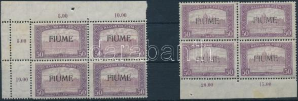 Fiume 1918 Parlament 50f gépi és kézi felülnyomású négyestömbök (20.000) / Mi 18 2 blocks of 4 with machine and manual overprint. Signed: Bodor