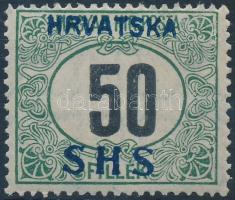 SHS 1918 Feketeszámú Portó 50f VII/a. vízjellel (54.000) / Mi P34y watermark VII/a. Signed: Bodor