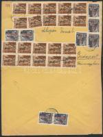 1946 (16. díjszabás) Távolsági levél 28 db Betűs III. bélyeggel bérmentesítve (boríték szétnyitva)