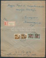 1945 (1. díjszabás) Ajánlott helyi levél Hadvezérek 2x80f + Kisegítő 20f/20f bérmentesítéssel (boríték szétnyitva)