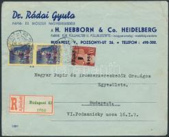 1945 (2. díjszabás) Ajánlott helyi céges levél Kisegítő 1P/70f + 2x3P/3f bérmentesítéssel