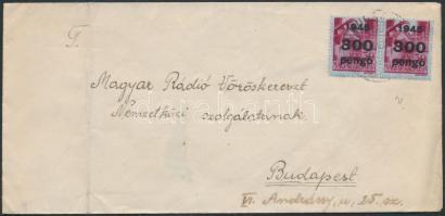 1946 (6. díjszabás) Távolsági levél Kisegítő 300P/30f párral bérmentesítve