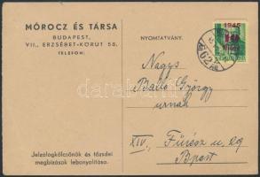 1945 (1. díjszabás) Nyomtatvány Kisegítő 10f/12f bérmentesítéssel