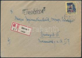 1945 (1. díjszabás) Ajánlott távolsági cenzúrázott levél Kisegítő 3P/3P bérmentesítéssel